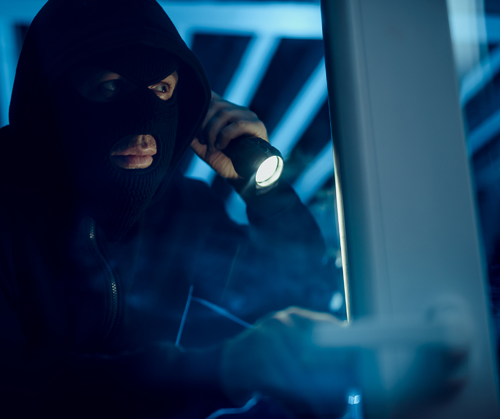 Robber peering in window with flashlight - Sunset Glass Tinting